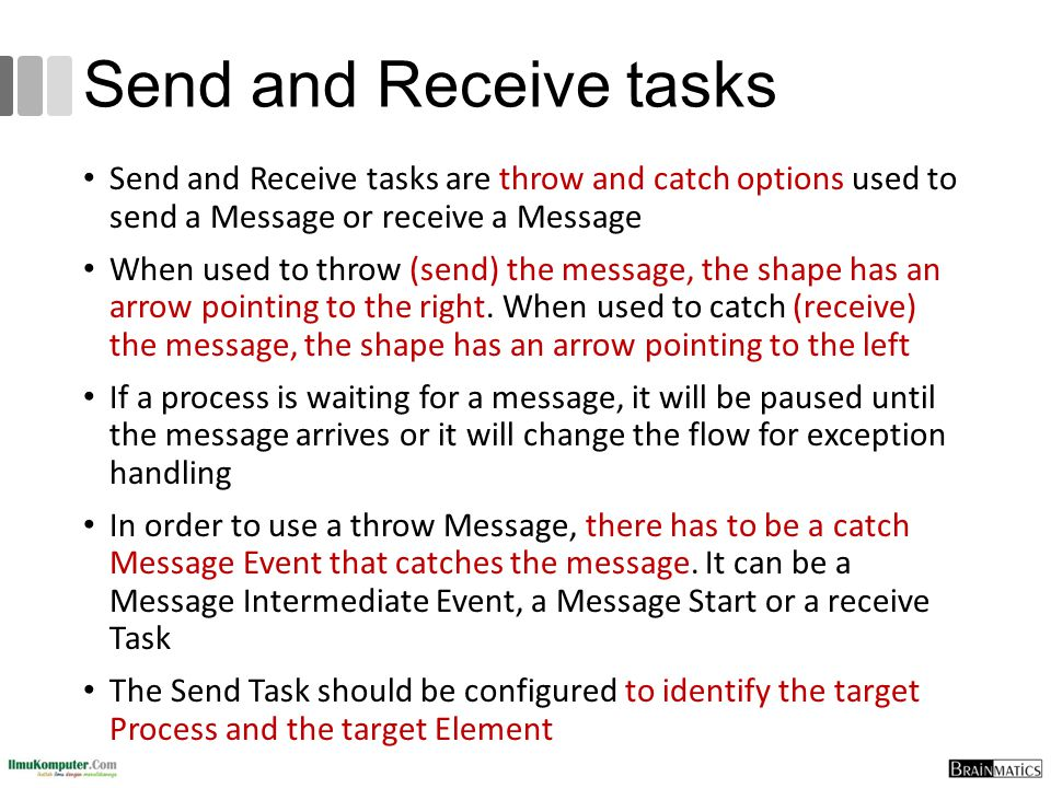 Send and Receive tasks Send and Receive tasks are throw and catch options used to send a Message or receive a Message.
