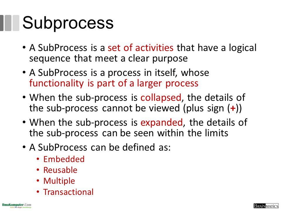 Subprocess A SubProcess is a set of activities that have a logical sequence that meet a clear purpose.