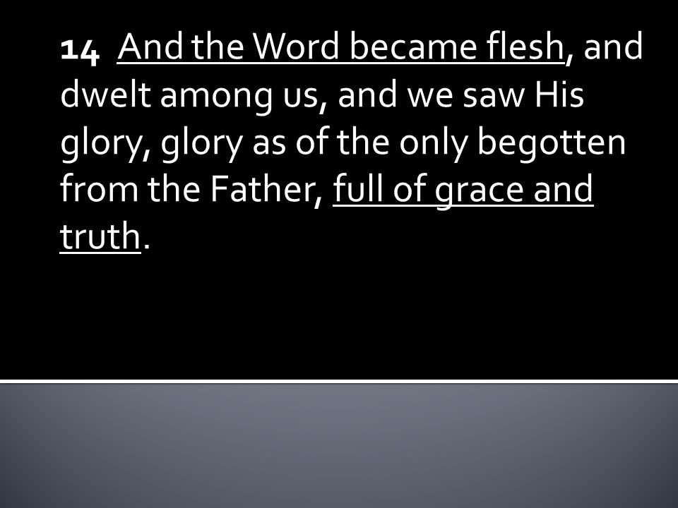 14 And the Word became flesh, and dwelt among us, and we saw His glory, glory as of the only begotten from the Father, full of grace and truth.
