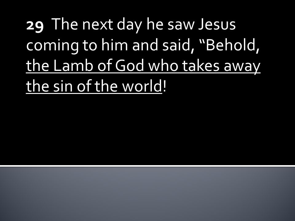29 The next day he saw Jesus coming to him and said, Behold, the Lamb of God who takes away the sin of the world!