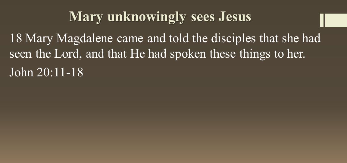 Mary unknowingly sees Jesus