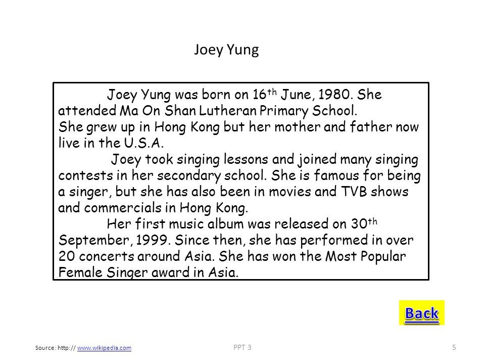 Joey Yung Joey Yung was born on 16th June, 1980. She attended Ma On Shan Lutheran Primary School.