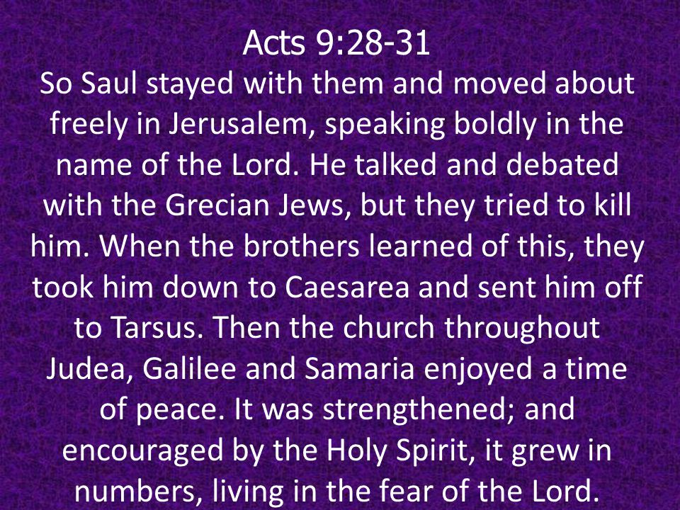 Acts 9:28-31