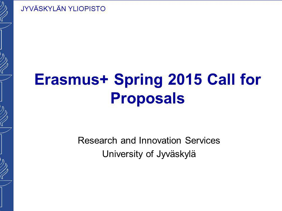 Erasmus+ Spring 2015 Call for Proposals