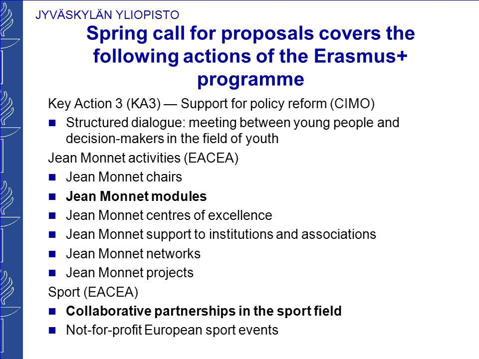 Spring call for proposals covers the following actions of the Erasmus+ programme