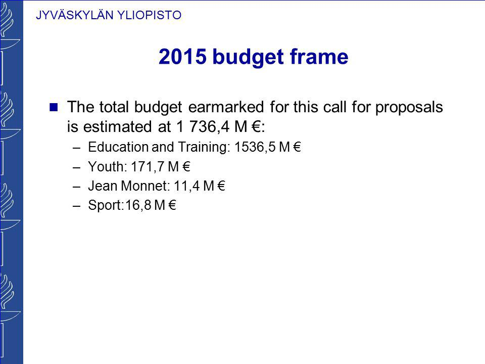 2015 budget frame The total budget earmarked for this call for proposals is estimated at 1 736,4 M €:
