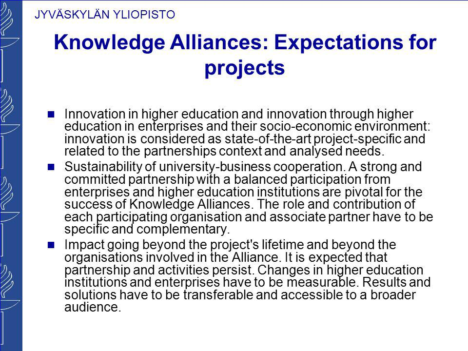 Knowledge Alliances: Expectations for projects