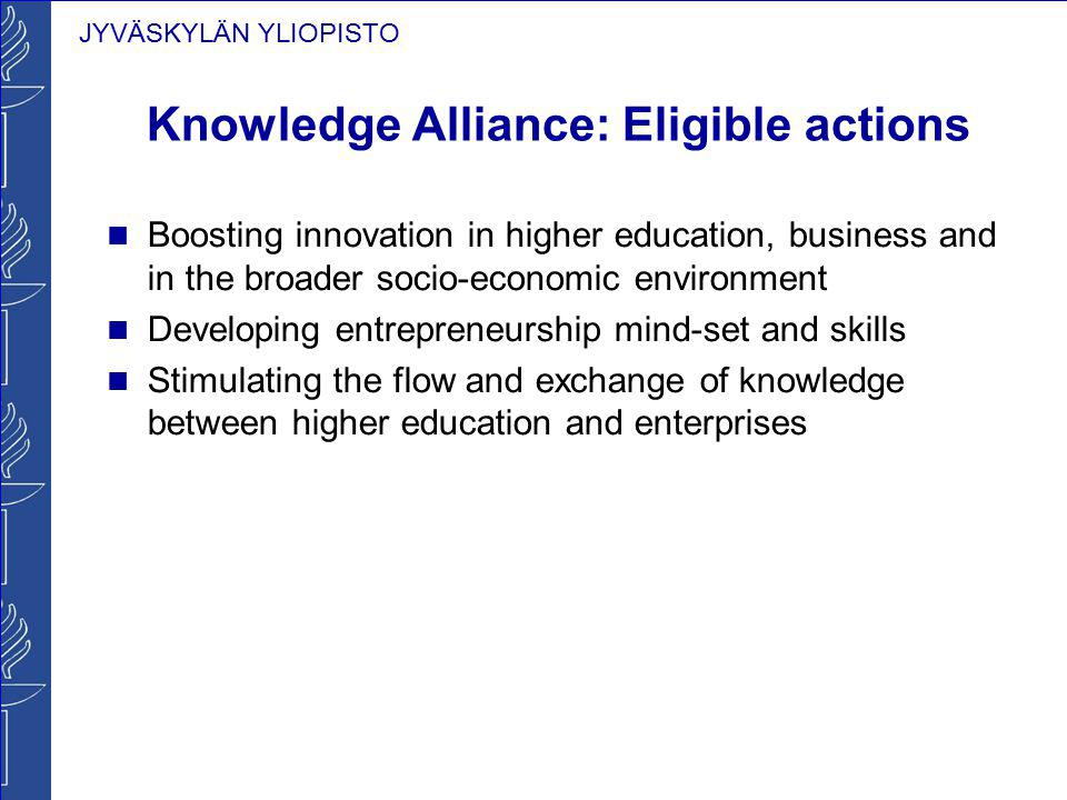 Knowledge Alliance: Eligible actions