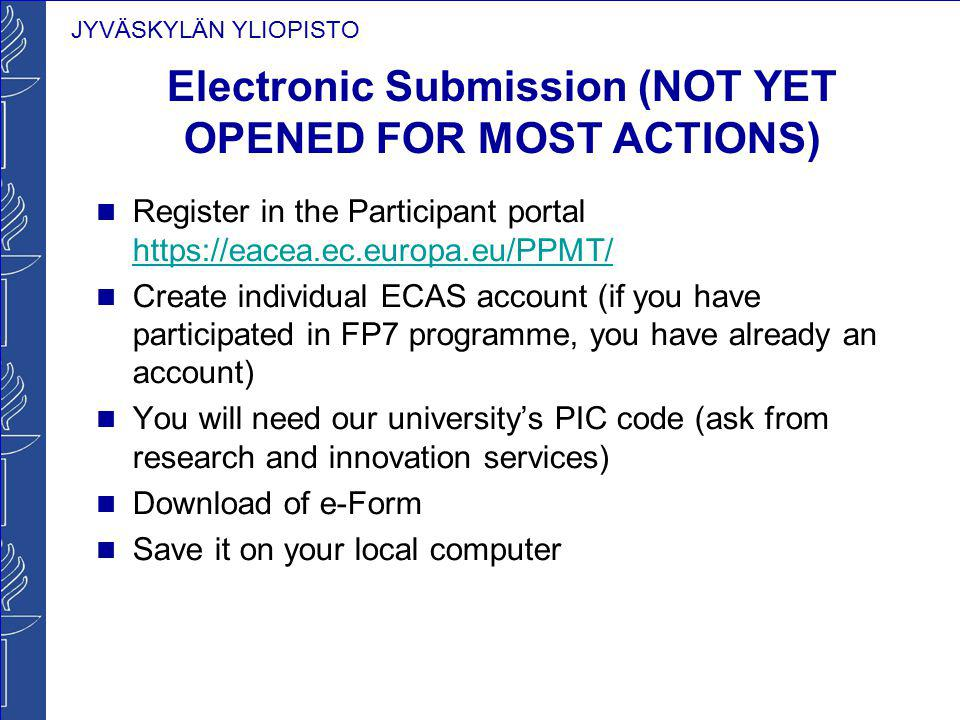 Electronic Submission (NOT YET OPENED FOR MOST ACTIONS)