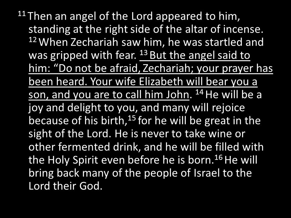 11 Then an angel of the Lord appeared to him, standing at the right side of the altar of incense.