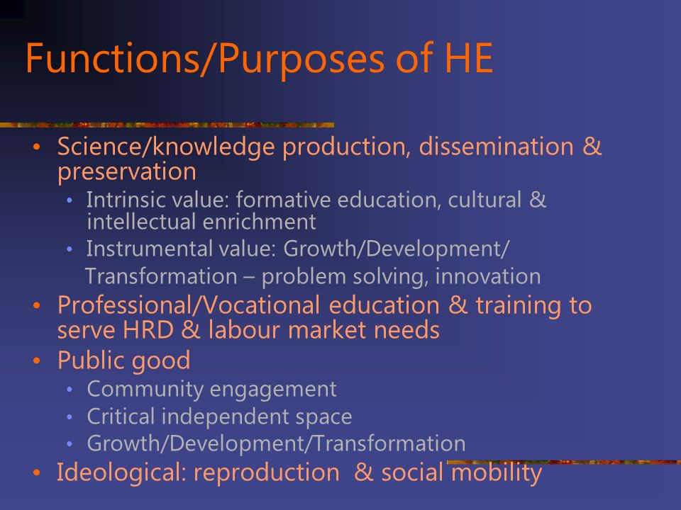Functions/Purposes of HE