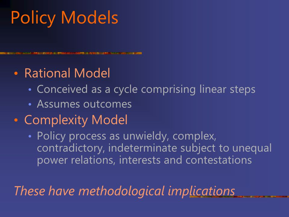 Policy Models Rational Model Complexity Model