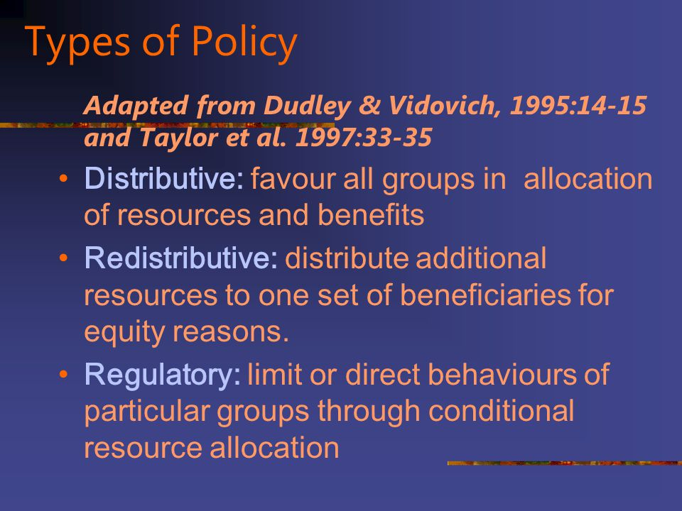 Types of Policy Adapted from Dudley & Vidovich, 1995:14-15 and Taylor et al. 1997:33-35.