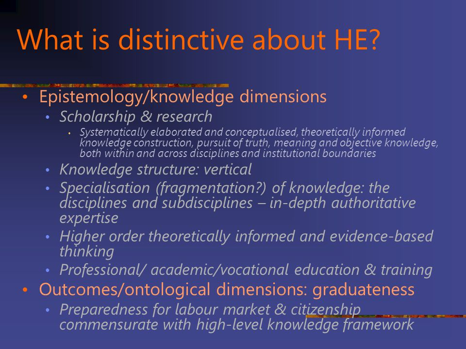 What is distinctive about HE