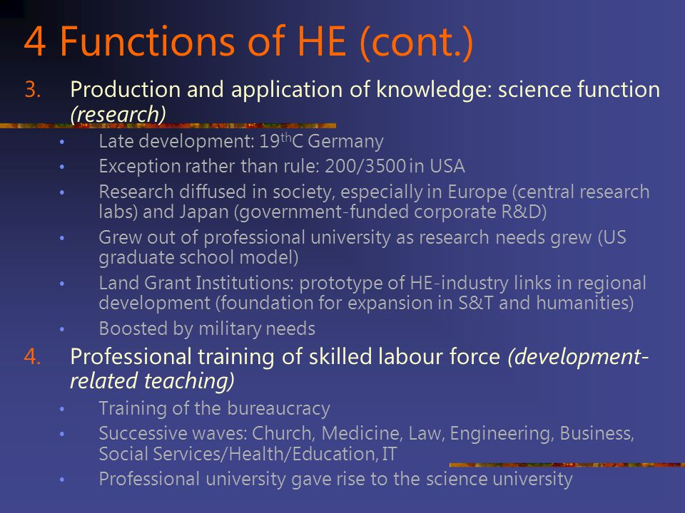 4 Functions of HE (cont.) Production and application of knowledge: science function (research) Late development: 19thC Germany.