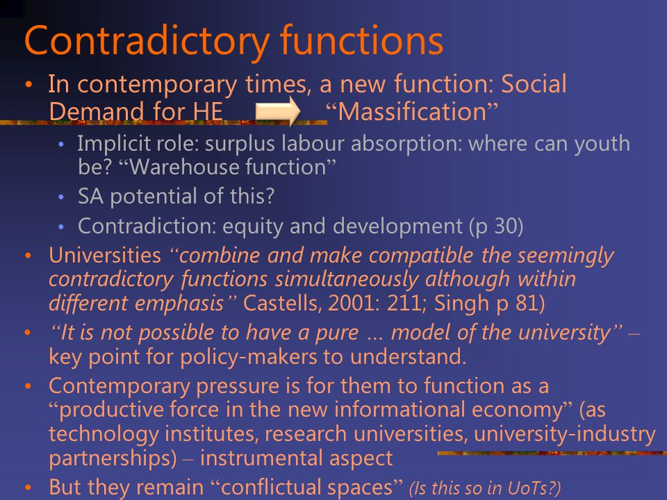 Contradictory functions
