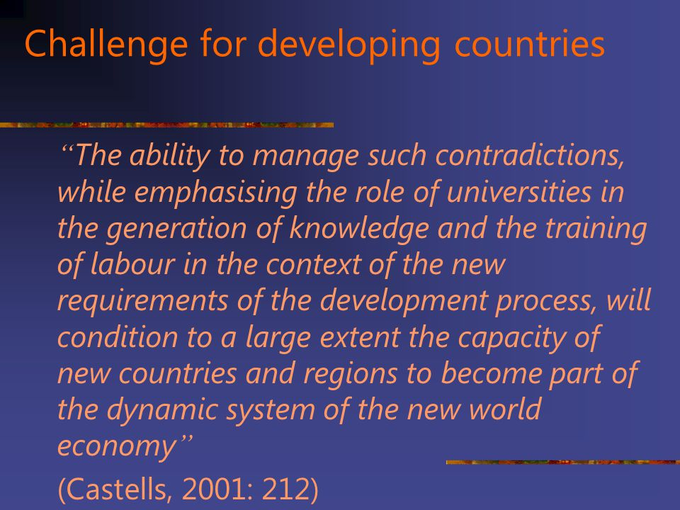 Challenge for developing countries
