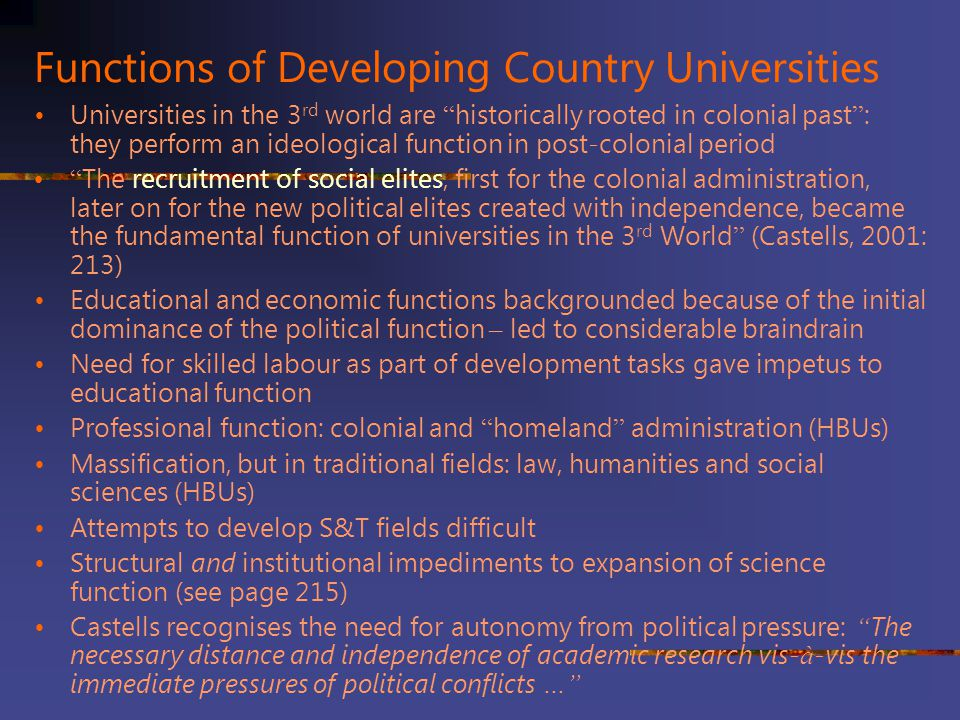 Functions of Developing Country Universities