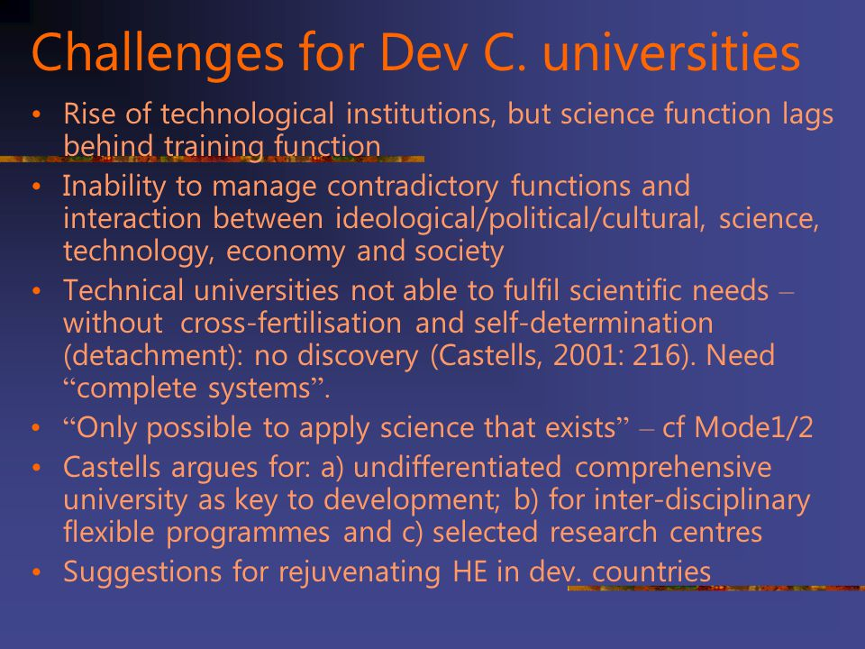 Challenges for Dev C. universities