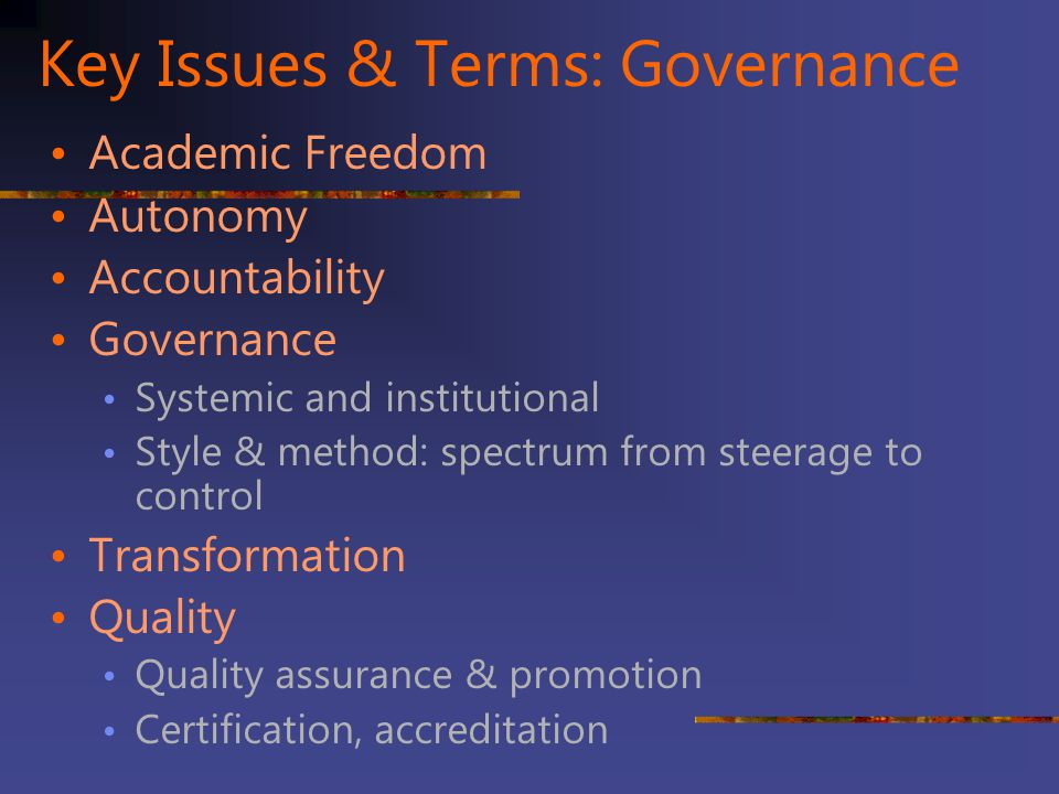 Key Issues & Terms: Governance