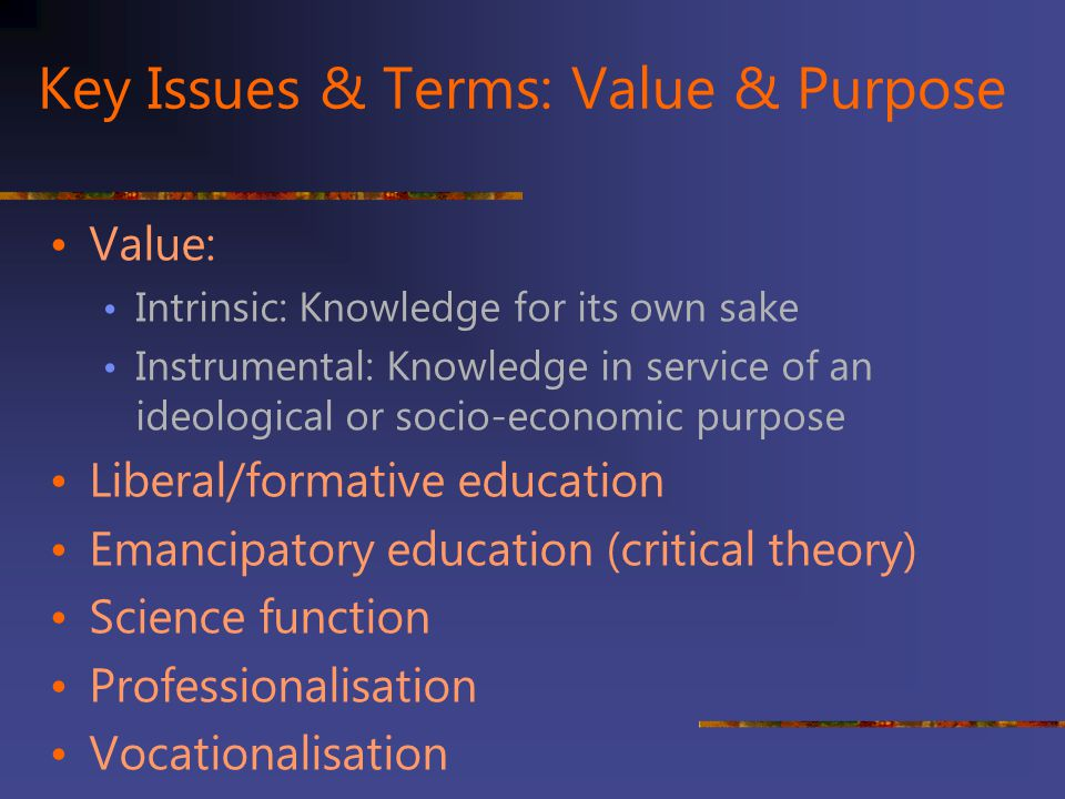 Key Issues & Terms: Value & Purpose