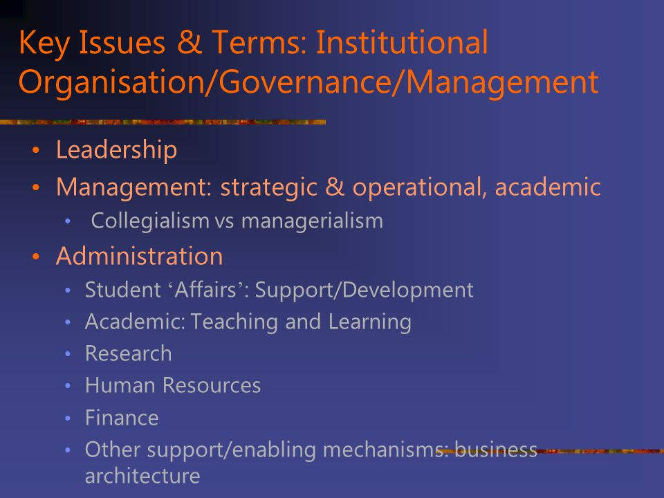 Key Issues & Terms: Institutional Organisation/Governance/Management