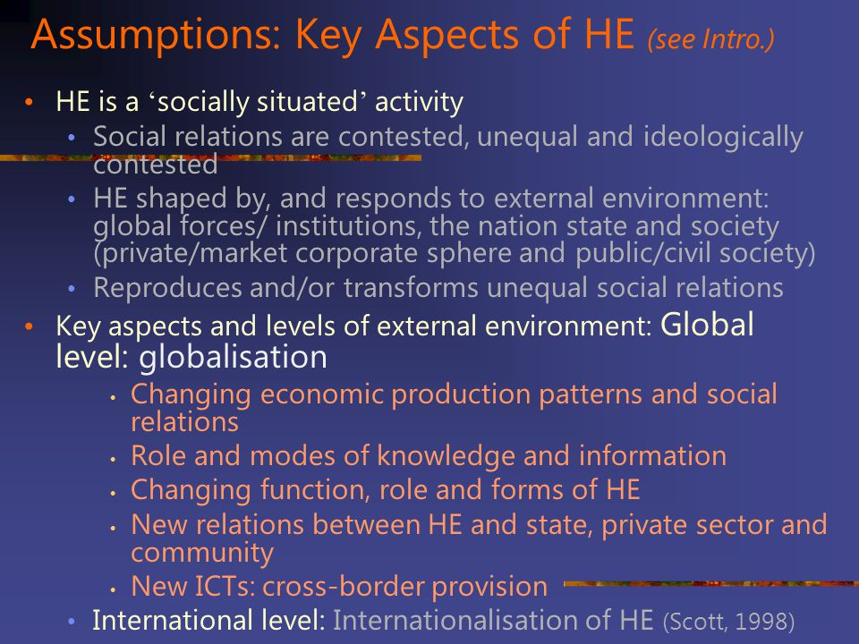 Assumptions: Key Aspects of HE (see Intro.)
