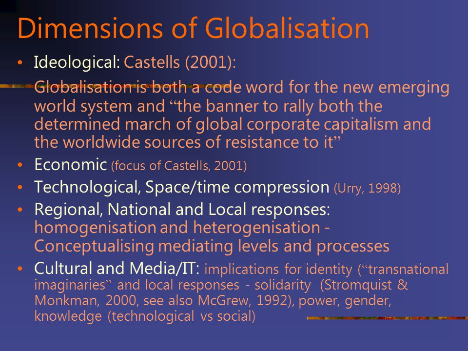 Dimensions of Globalisation