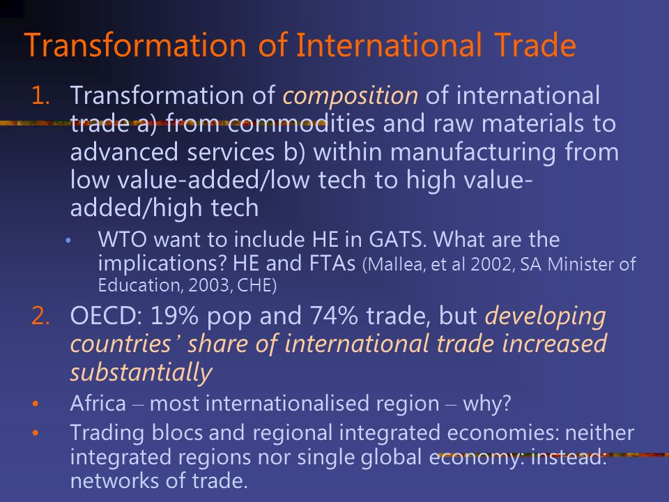 Transformation of International Trade