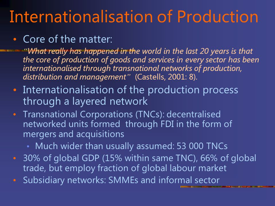 Internationalisation of Production