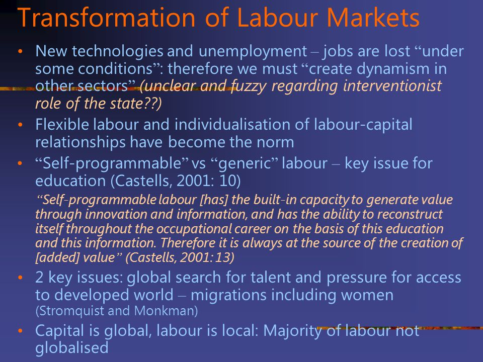 Transformation of Labour Markets