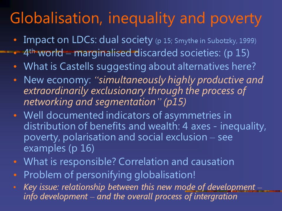 Globalisation, inequality and poverty