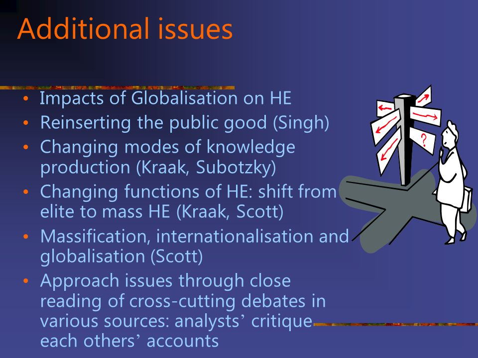 Additional issues Impacts of Globalisation on HE