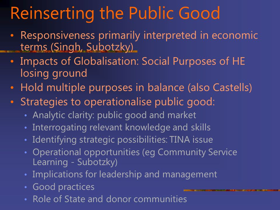 Reinserting the Public Good