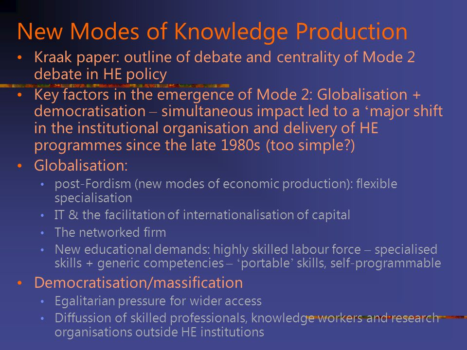 New Modes of Knowledge Production