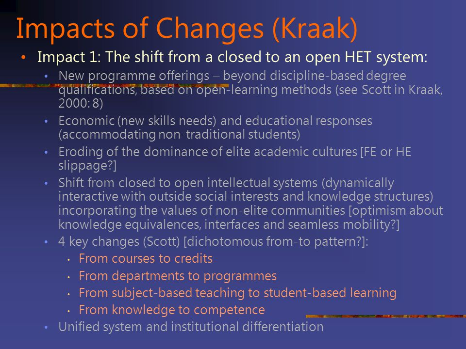 Impacts of Changes (Kraak)