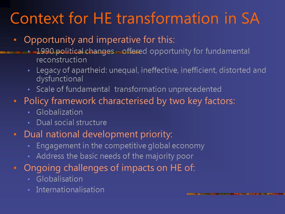 Context for HE transformation in SA