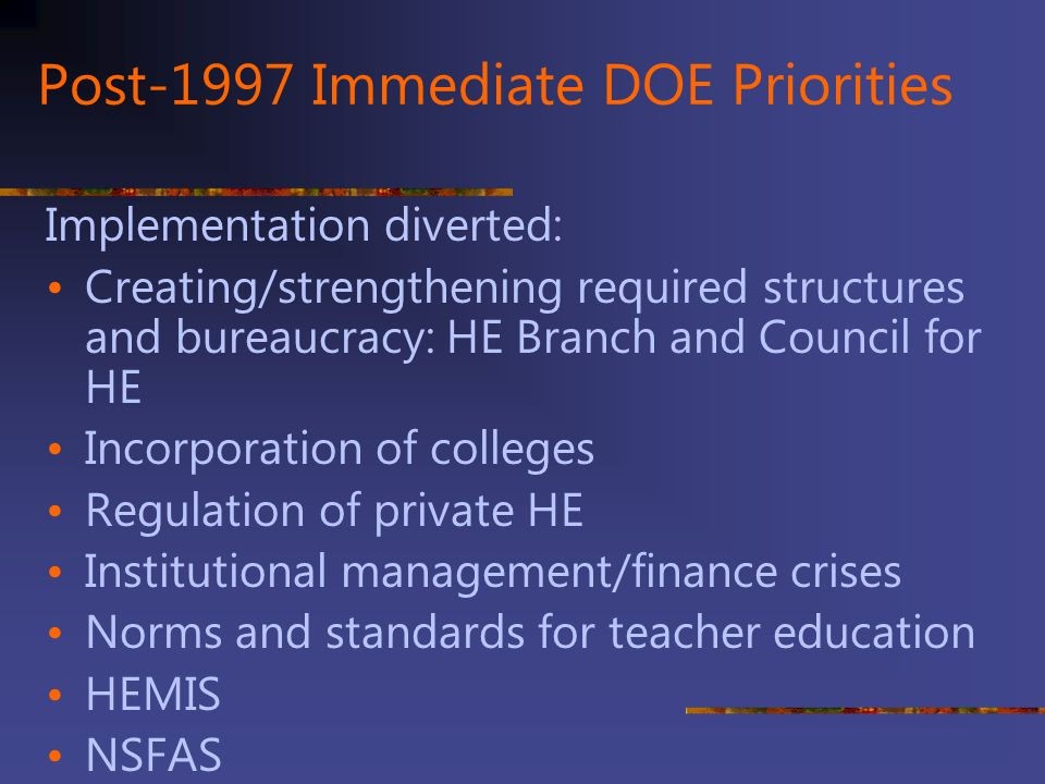 Post-1997 Immediate DOE Priorities