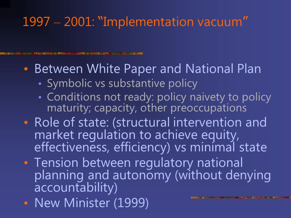 1997 – 2001: Implementation vacuum