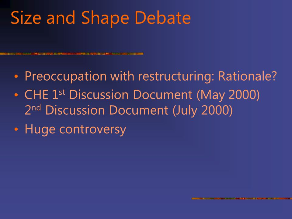 Size and Shape Debate Preoccupation with restructuring: Rationale