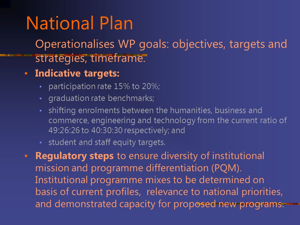National Plan Operationalises WP goals: objectives, targets and strategies, timeframe. Indicative targets: