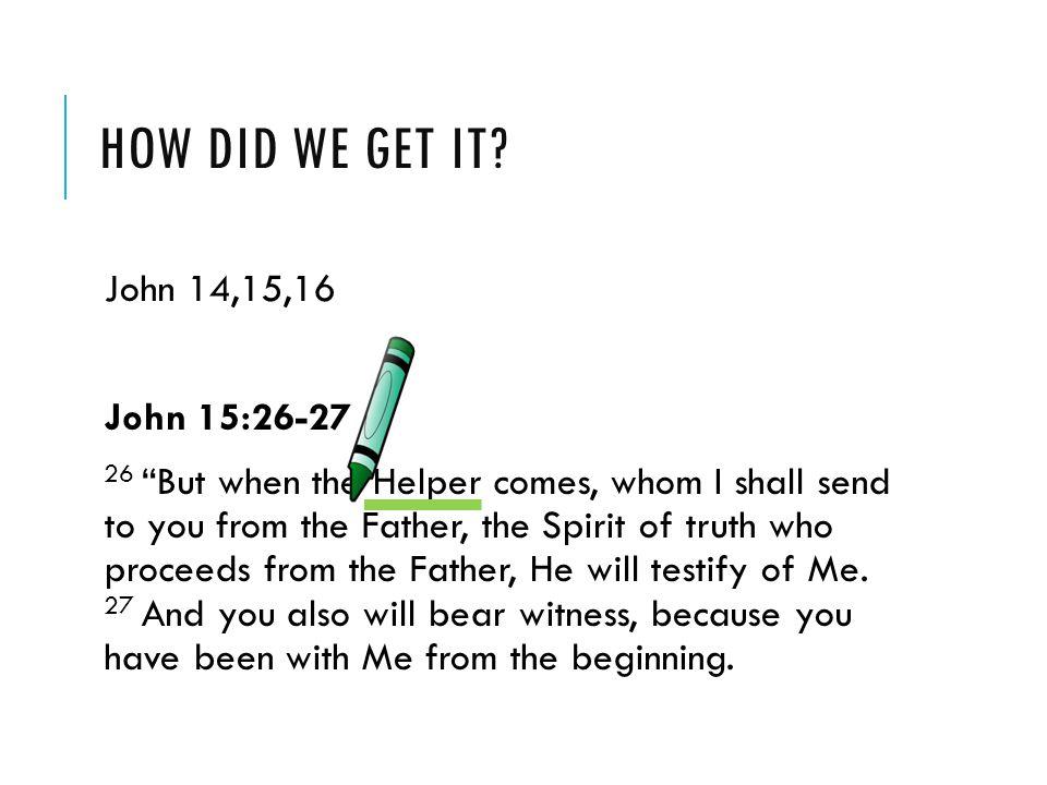 How did we get it John 14,15,16 John 15:26-27