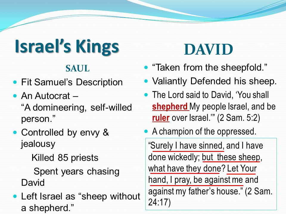 Israel's Kings DAVID SAUL Taken from the sheepfold.