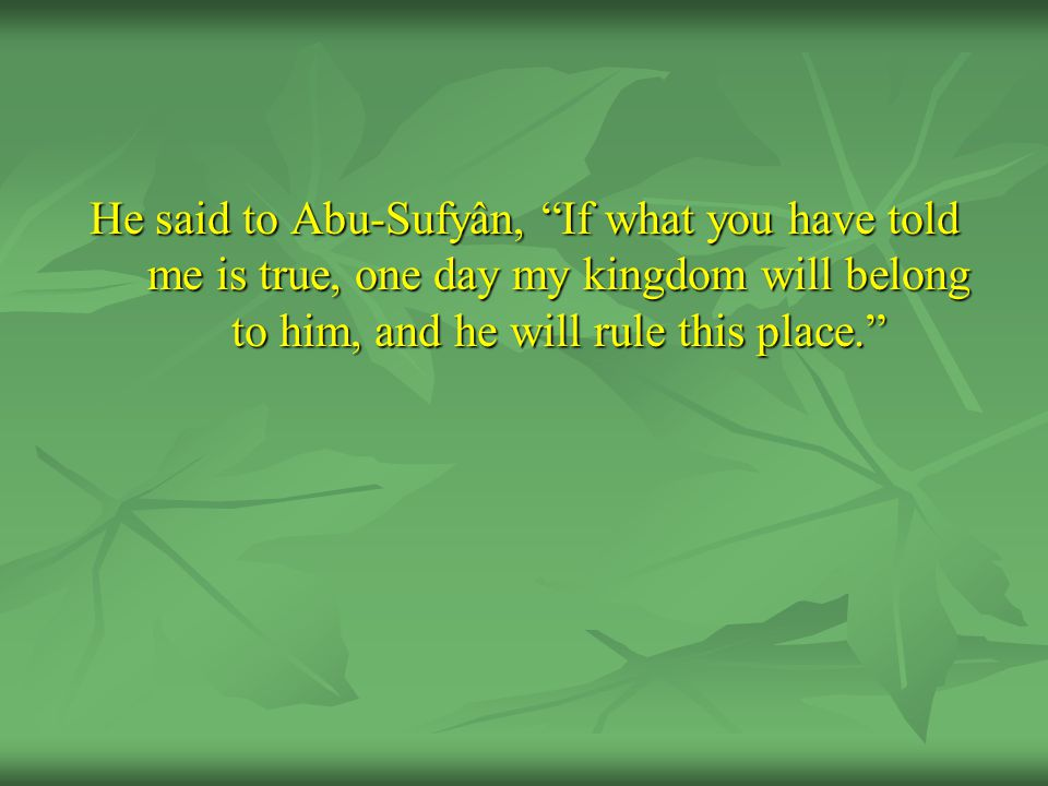 He said to Abu-Sufyân, If what you have told me is true, one day my kingdom will belong to him, and he will rule this place.