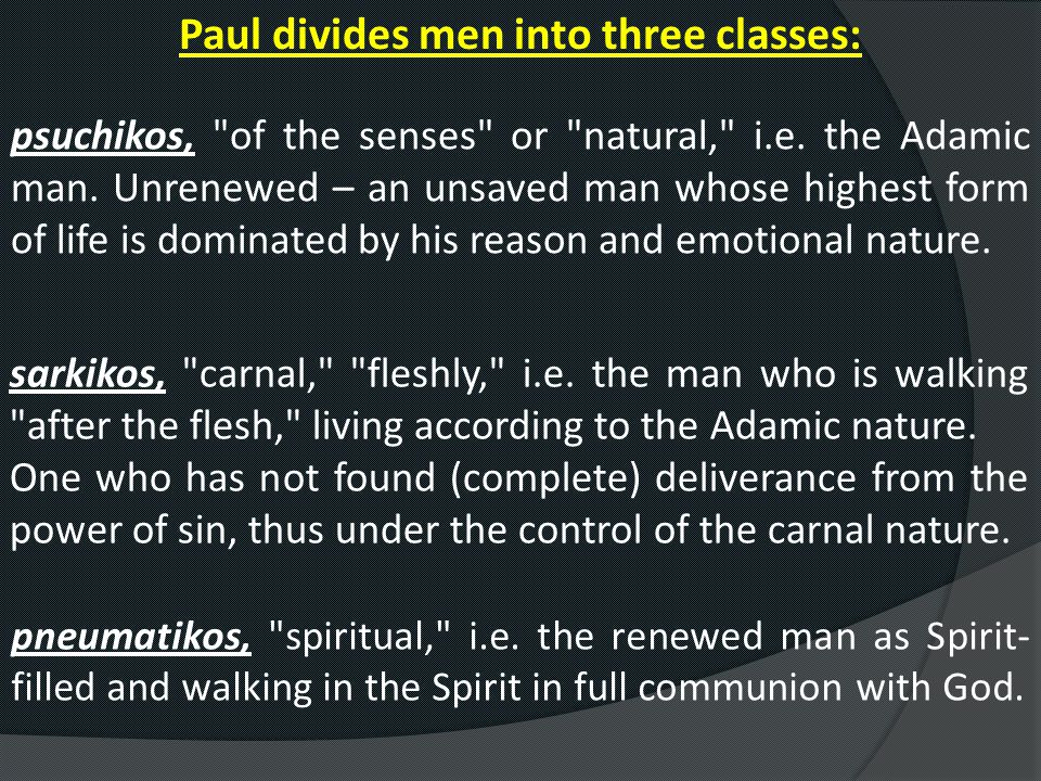 Paul divides men into three classes: