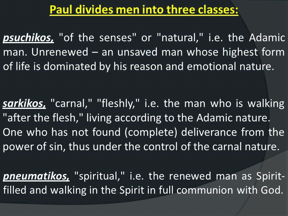 Paul divides men into three classes: