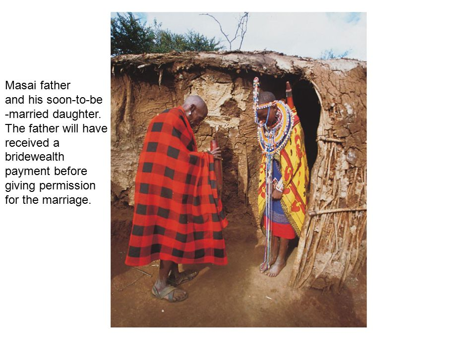 Masai father and his soon-to-be. -married daughter. The father will have. received a. bridewealth.