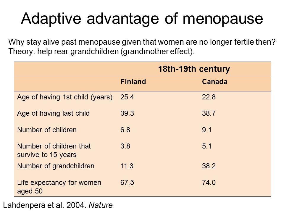 Adaptive advantage of menopause