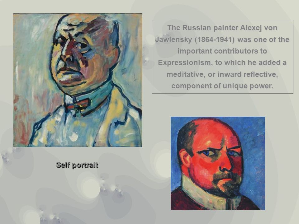The Russian painter Alexej von Jawlensky (1864-1941) was one of the important contributors to Expressionism, to which he added a meditative, or inward reflective, component of unique power.
