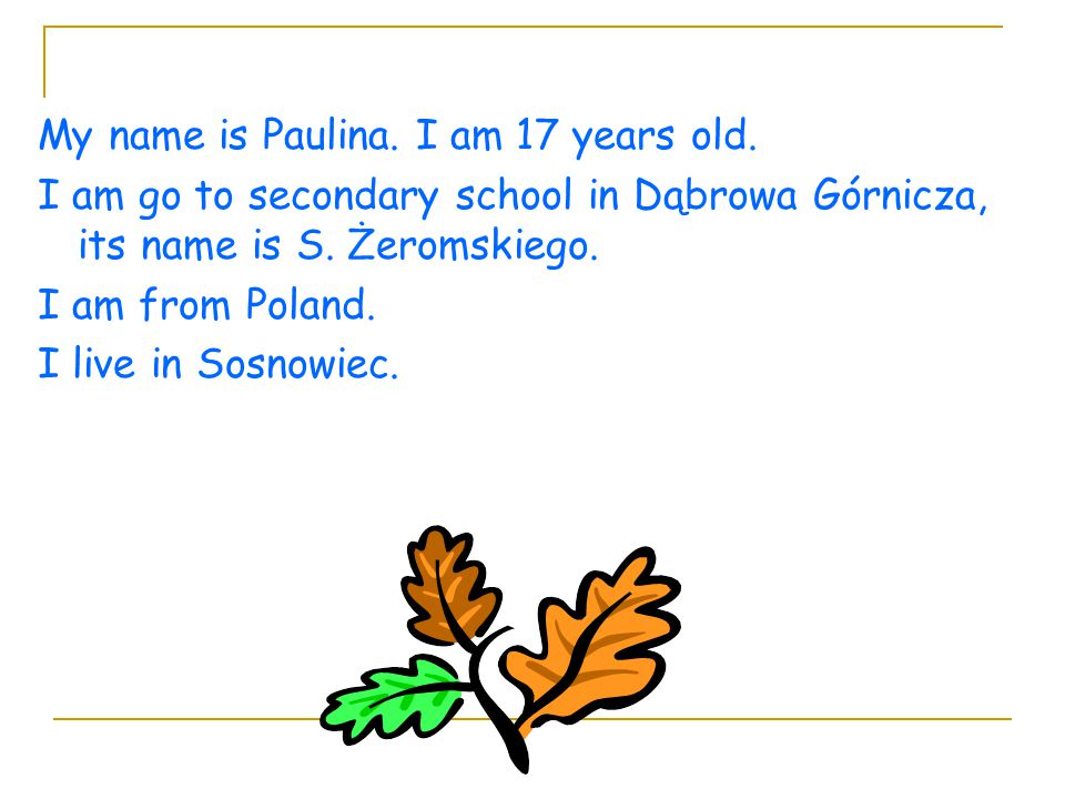 My name is Paulina. I am 17 years old.